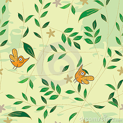Bird Smell Leaf Seamless pattern_eps