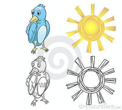 Bird and sun and each outline