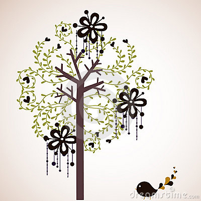 Bird and tree wallpaper