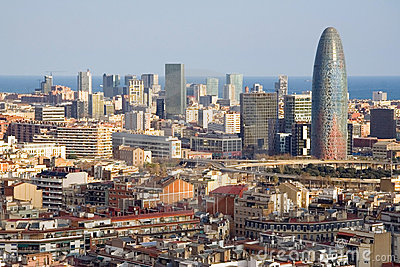 Bird view of the Agbar Tower in Barcelona