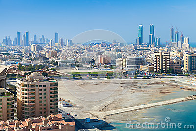 Bird view of manama city bahrain middle east stock photo for United international decor bahrain