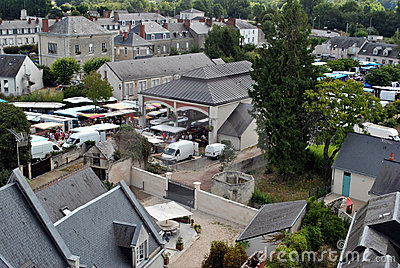 Bird view of small french town - market