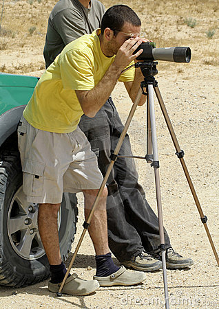 Bird watcher sede boker desert
