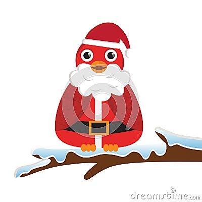Bird wearing Santa costume
