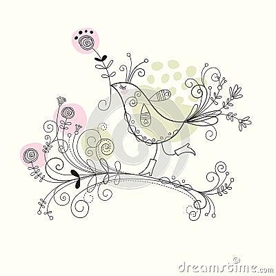 Free Bird With Flowers Stock Photo - 14363470