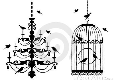 Birdcage and chandelier with birds,