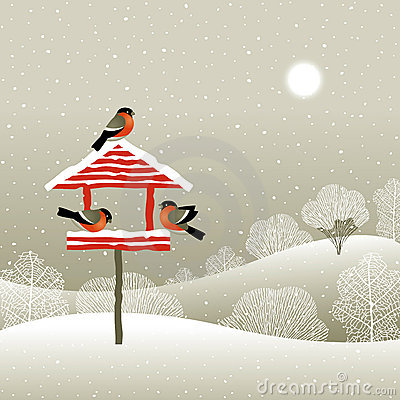 Free Birdfeeder In Winter Forest Royalty Free Stock Photography - 16461307