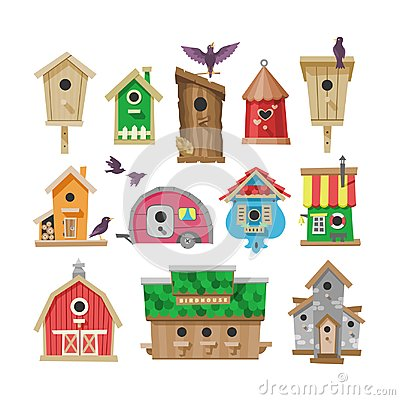 Free Birdhouse Vector Cartoon Birdbox And Birdie Wooden House Illustration Set Of Birds Singing Birdsongs In Decorative House Stock Photography - 114521702