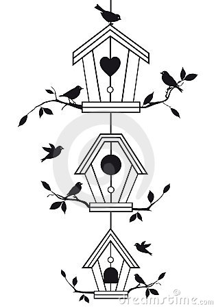 Free Birdhouses With Tree Branches, Vector Stock Image - 22103691