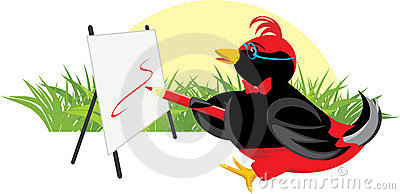Birdie-artist With Easel Royalty Free Stock Photography - Image: 12875547
