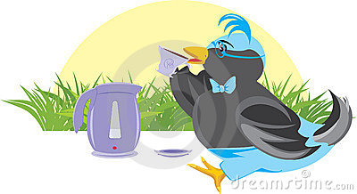 Birdie with a cup and teapot. Tea-drinking