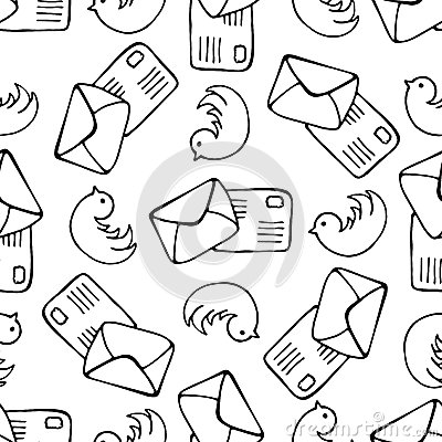 Free Birds And Letter Mail Seamless Pattern. Doodle Mail Vector Background Stock Image - 53946981