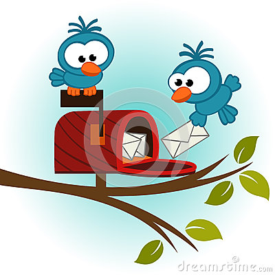 Free Birds And Mailbox With Mail Royalty Free Stock Image - 35737326