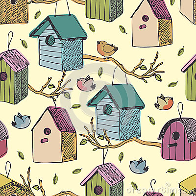 Free Birds And Starling Houses Background Stock Photos - 37112103