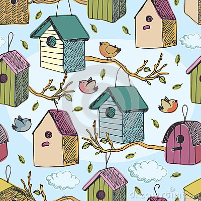 Free Birds And Starling Houses Pattern Royalty Free Stock Photos - 36714898