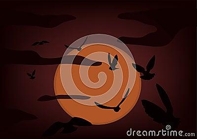 Birds on a background an ascending sun