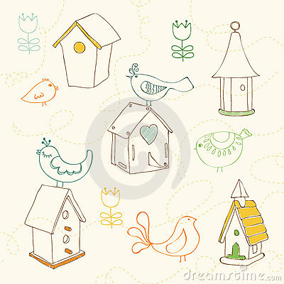 Birds and Bird Houses doodles