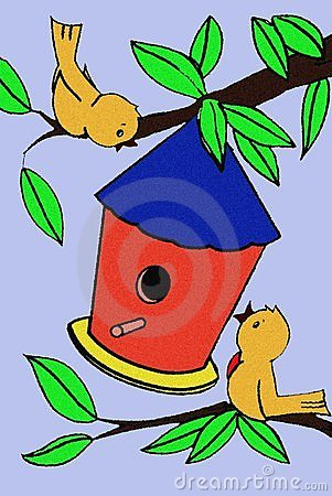 Birds and Birdhouse in a Tree