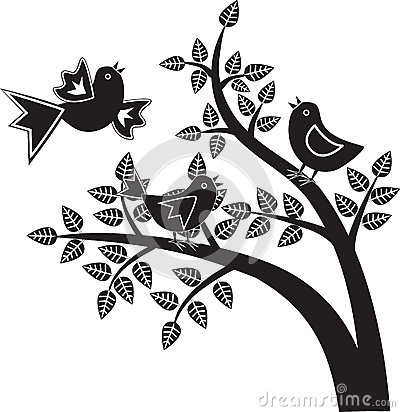 Birds black and white graphics
