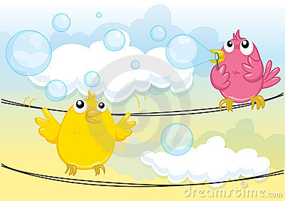 Birds blowing bubbles