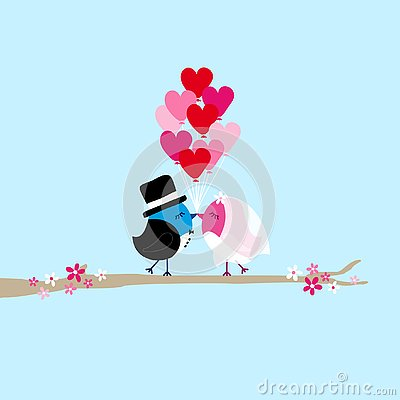 Birds Bride And Groom Holding Nine Heart Balloons On Tree Blue Stock Photo