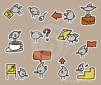 Birds and business icon set