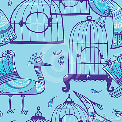 Birds and cages seamless pattern
