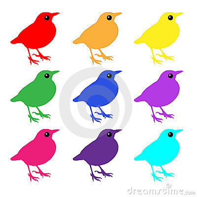 Birds colorful icons