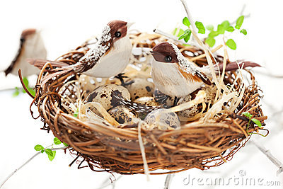 Birds and eggs in an Easter nest