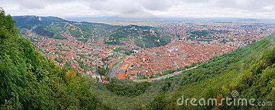 Birds-eye panorama of the Brasov city centre