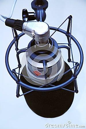 Birds eye view of studio microphone