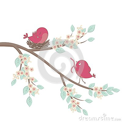 Birds family in love. Vector.