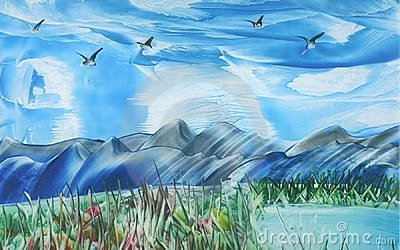 Birds in Flight over Mountain Range