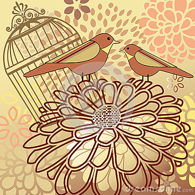 Birds with flower montage antique cage