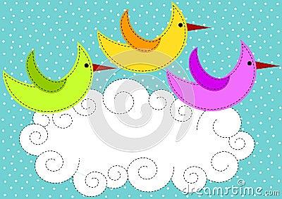 Birds flying over cloud invitation card
