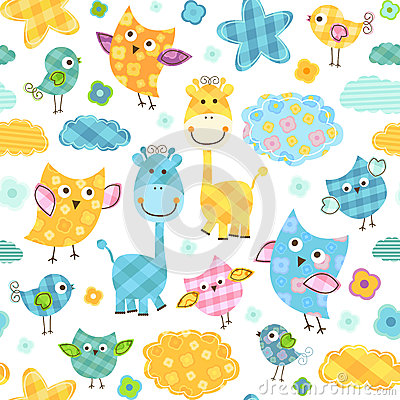 Birds and giraffes pattern