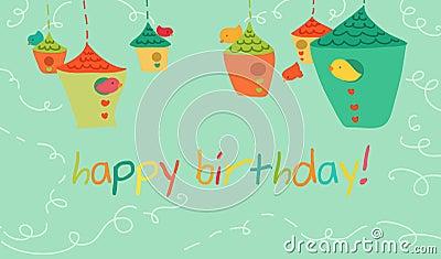 Birds happy birthday s card.