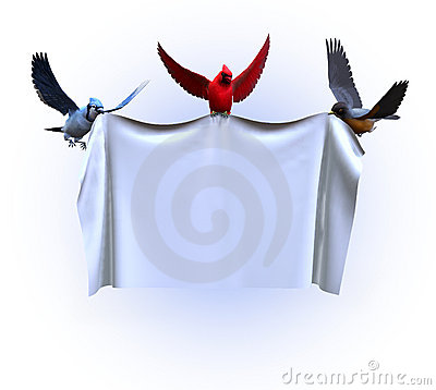 Free Birds Holding A Blank Banner - With Clipping Path Stock Image - 501751