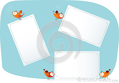 Birds holding paper lists