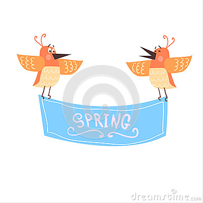 Free Birds Holding Spring Banner Stock Photography - 69206492