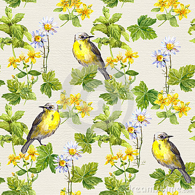 Free Birds In Floral Garden - Flowers, Herbs. Watercolor. Repetitive Pattern. Stock Photos - 81382173