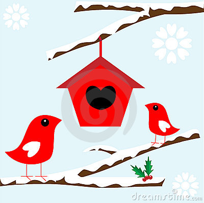 Free Birds In Tree With Snow For Christmas Royalty Free Stock Photo - 13930675