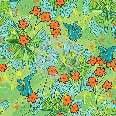 Birds Life Draw Flower Seamless Pattern_eps