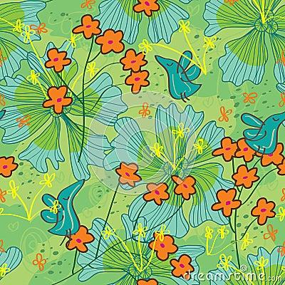 Birds Life Draw Flower Seamless Pattern_eps