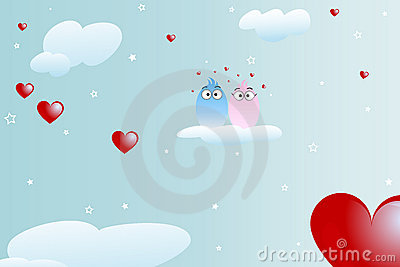 Birds in love background - valentine theme