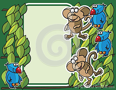 Birds and monkeys background