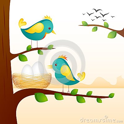 Birds with Nest