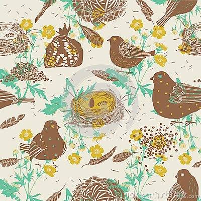 Birds and nests. seamless pattern