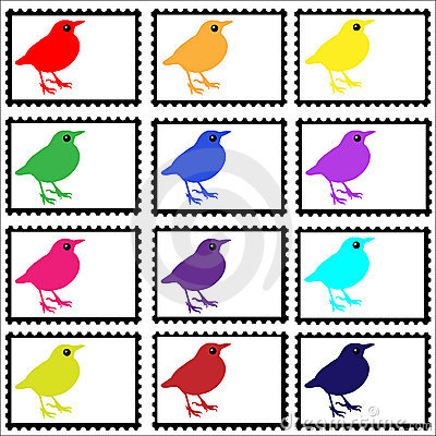 Free Birds On Stamps Set Stock Photo - 13930670