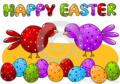 Birds and Polka Dot Eggs Happy Easter Card
